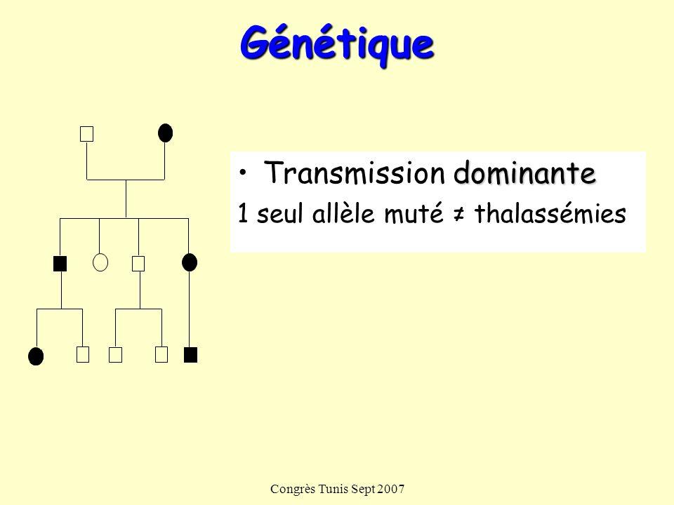Congrès Tunis Sept 2007Génétique dominanteTransmission dominante 1 seul allèle muté thalassémies