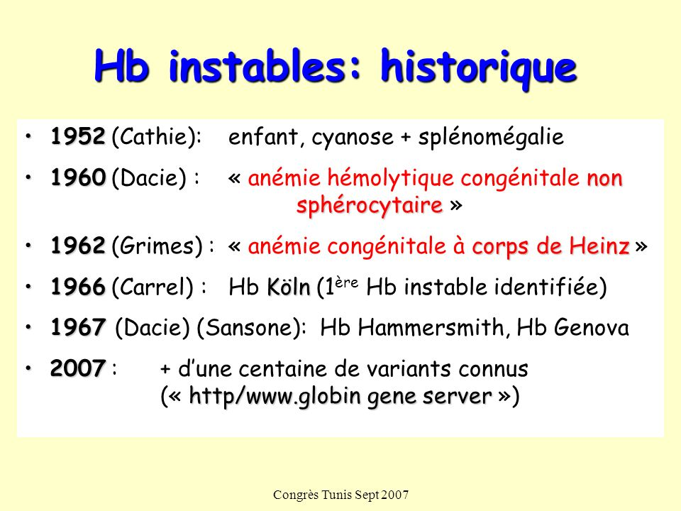 Congrès Tunis Sept 2007 Hb instables: historique 19521952 (Cathie): enfant, cyanose + splénomégalie 1960non sphérocytaire1960 (Dacie) :« anémie hémoly