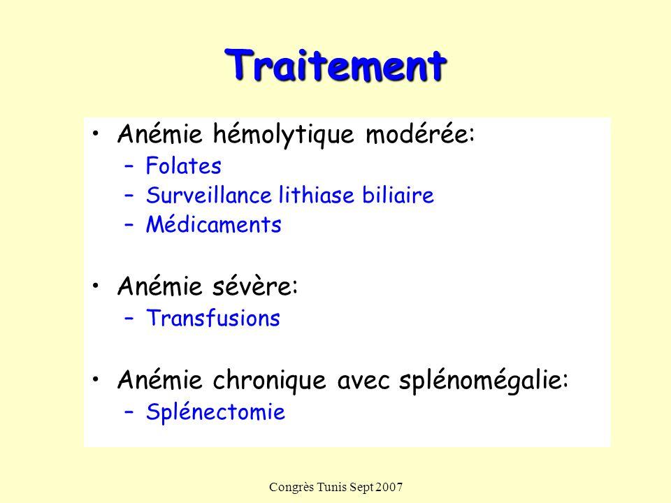 Congrès Tunis Sept 2007 Traitement Anémie hémolytique modérée: –Folates –Surveillance lithiase biliaire –Médicaments Anémie sévère: –Transfusions Aném