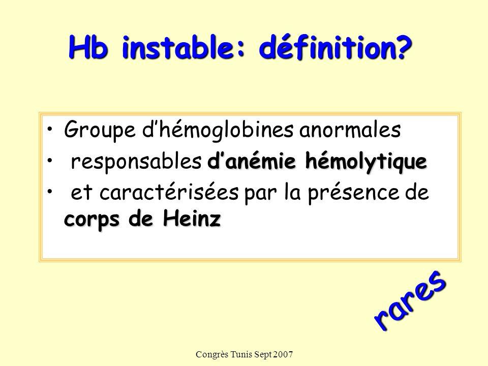 Congrès Tunis Sept 2007 Hb instable: définition? Groupe dhémoglobines anormales danémie hémolytique responsables danémie hémolytique corps de Heinz et
