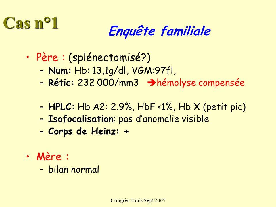 Congrès Tunis Sept 2007 Traitement Anémie hémolytique modérée: –Folates –Surveillance lithiase biliaire –Médicaments Anémie sévère: –Transfusions Anémie chronique avec splénomégalie: –Splénectomie