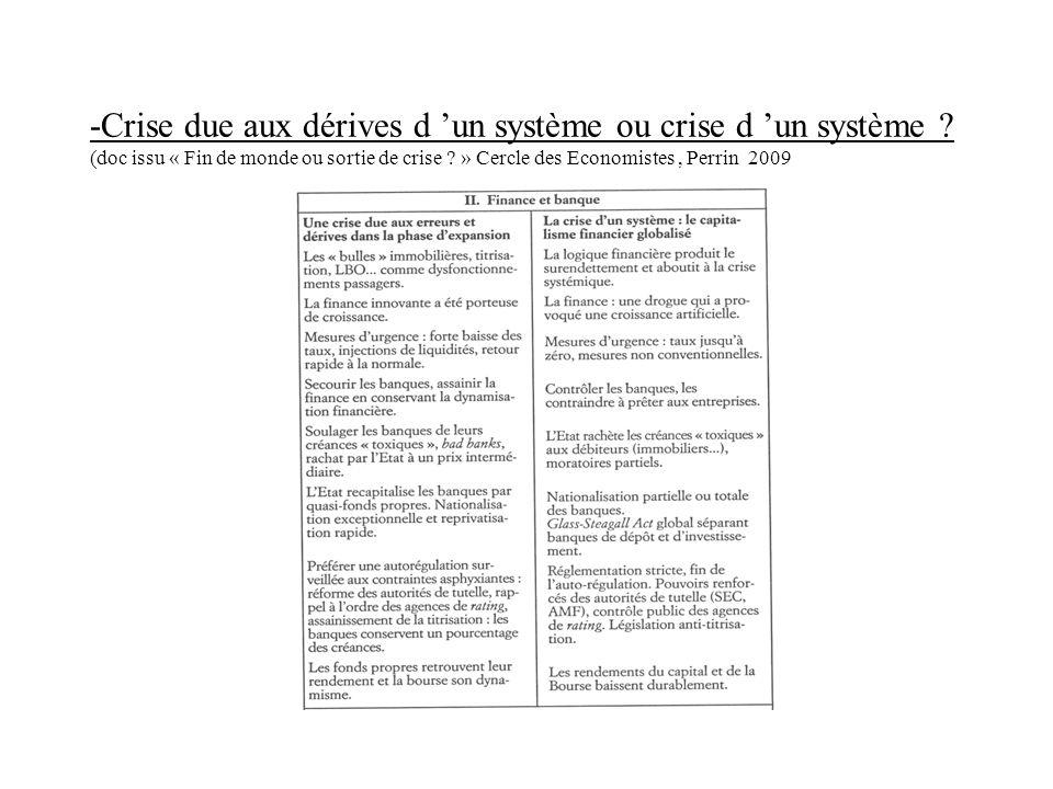 -Crise due aux dérives d un système ou crise d un système ? (doc issu « Fin de monde ou sortie de crise ? » Cercle des Economistes, Perrin 2009