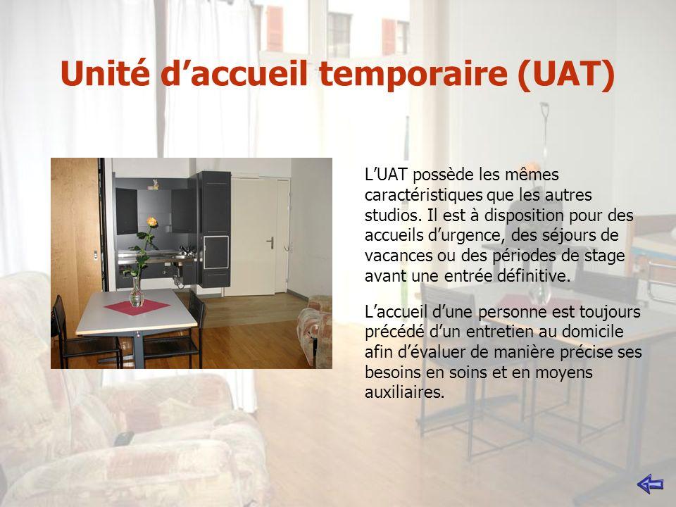 Unité daccueil temporaire (UAT) LUAT possède les mêmes caractéristiques que les autres studios. Il est à disposition pour des accueils durgence, des s