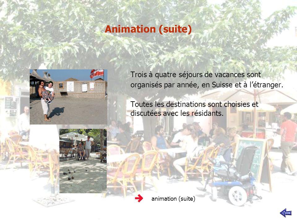 Animation (suite) Trois à quatre séjours de vacances sont organisés par année, en Suisse et à létranger. Toutes les destinations sont choisies et disc