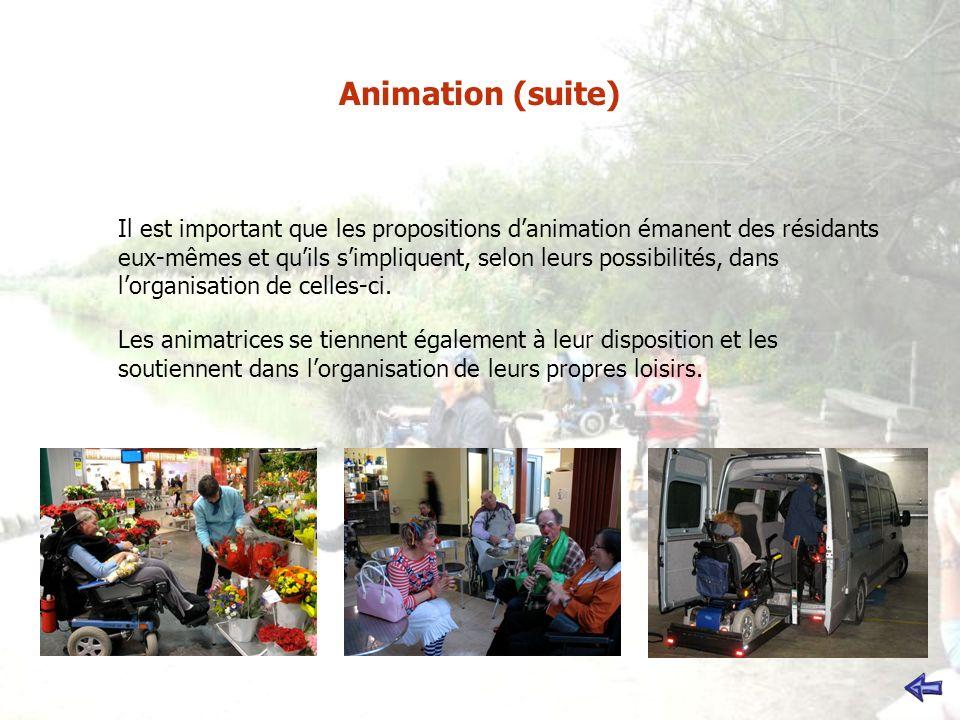 Animation (suite) Il est important que les propositions danimation émanent des résidants eux-mêmes et quils simpliquent, selon leurs possibilités, dans lorganisation de celles-ci.