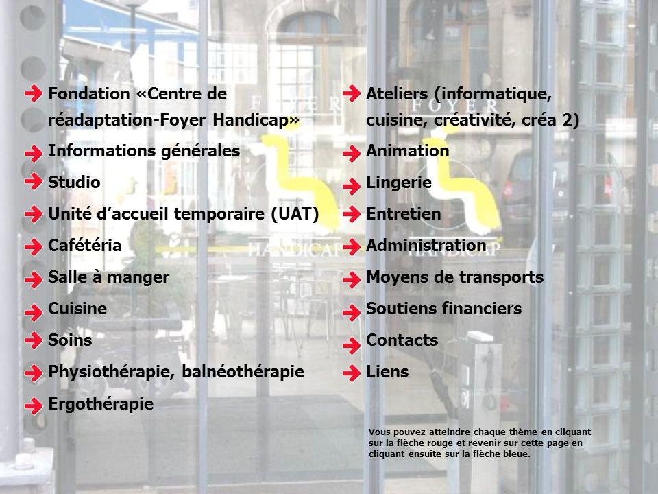 Fondation «Centre de réadaptation-Foyer Handicap» Informations générales Studio Unité daccueil temporaire (UAT) Cafétéria Salle à manger Cuisine Soins
