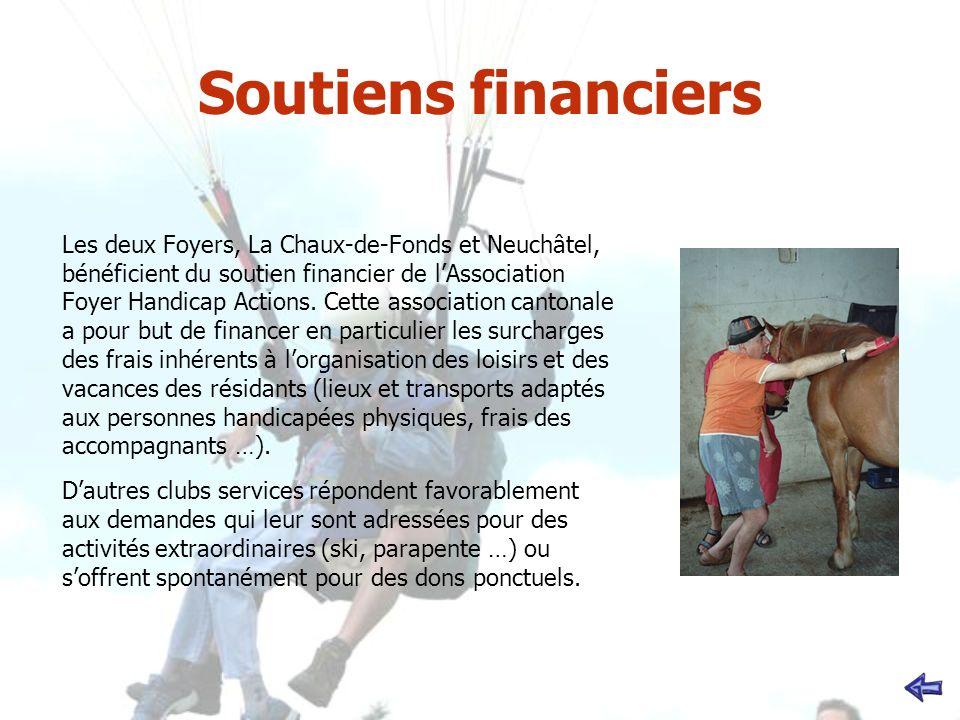 Soutiens financiers Les deux Foyers, La Chaux-de-Fonds et Neuchâtel, bénéficient du soutien financier de lAssociation Foyer Handicap Actions. Cette as