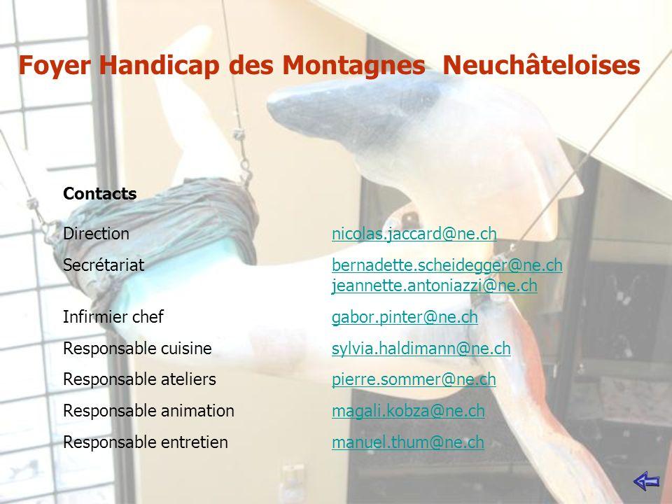 Contacts Directionnicolas.jaccard@ne.ch Secrétariatbernadette.scheidegger@ne.ch jeannette.antoniazzi@ne.ch Infirmier chef gabor.pinter@ne.ch Responsable cuisine sylvia.haldimann@ne.ch Responsable atelierspierre.sommer@ne.ch Responsable animationmagali.kobza@ne.ch Responsable entretienmanuel.thum@ne.chnicolas.jaccard@ne.chbernadette.scheidegger@ne.ch jeannette.antoniazzi@ne.chgabor.pinter@ne.chsylvia.haldimann@ne.chpierre.sommer@ne.chmagali.kobza@ne.chmanuel.thum@ne.ch Foyer Handicap des Montagnes Neuchâteloises