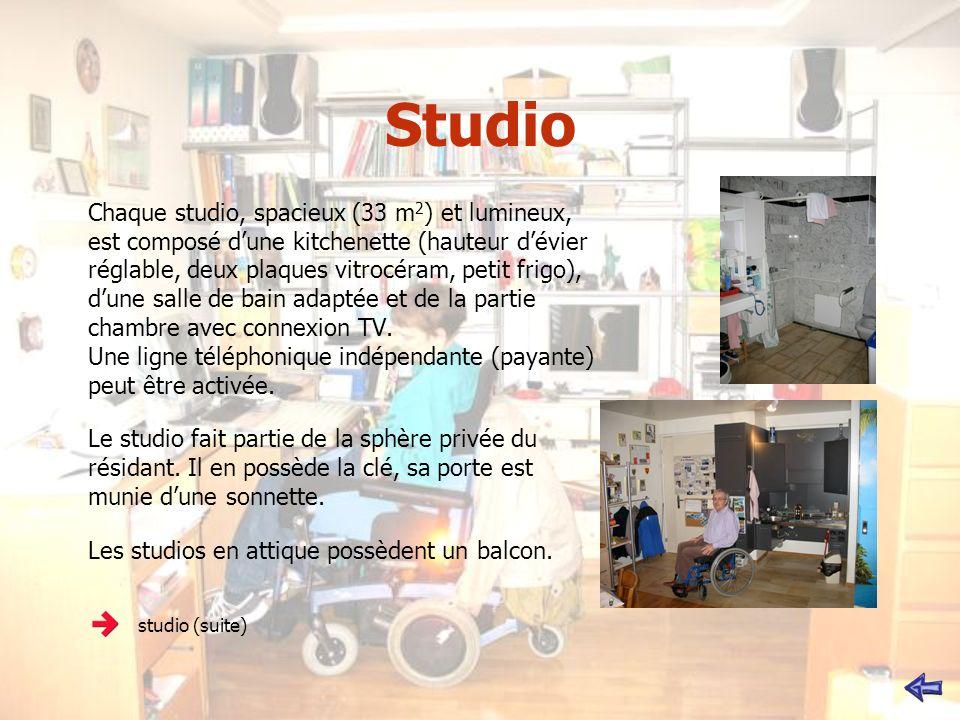 Studio Chaque studio, spacieux (33 m 2 ) et lumineux, est composé dune kitchenette (hauteur dévier réglable, deux plaques vitrocéram, petit frigo), dune salle de bain adaptée et de la partie chambre avec connexion TV.