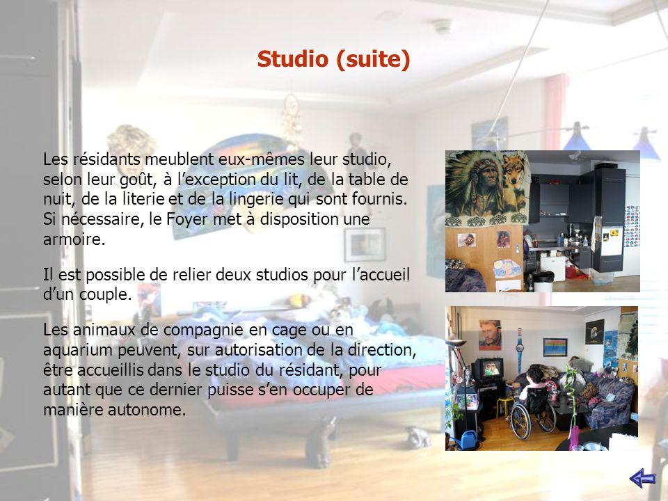 Studio (suite) Les résidants meublent eux-mêmes leur studio, selon leur goût, à lexception du lit, de la table de nuit, de la literie et de la lingerie qui sont fournis.