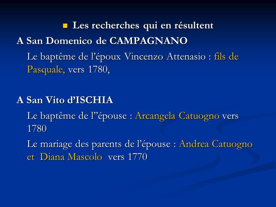 Les recherches qui en résultent Les recherches qui en résultent A San Domenico de CAMPAGNANO Le baptême de lépoux Vincenzo Attenasio : fils de Pasqual