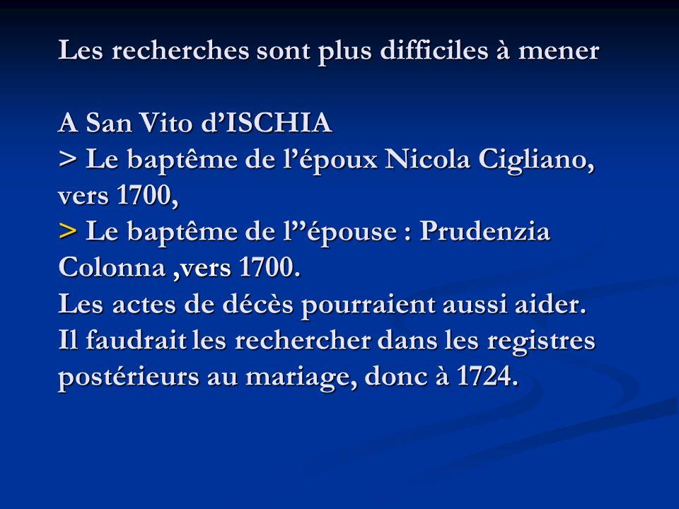 Les recherches sont plus difficiles à mener A San Vito dISCHIA > Le baptême de lépoux Nicola Cigliano, vers 1700, > Le baptême de lépouse : Prudenzia