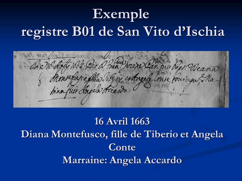 Exemple registre B01 de San Vito dIschia 16 Avril 1663 Diana Montefusco, fille de Tiberio et Angela Conte Marraine: Angela Accardo
