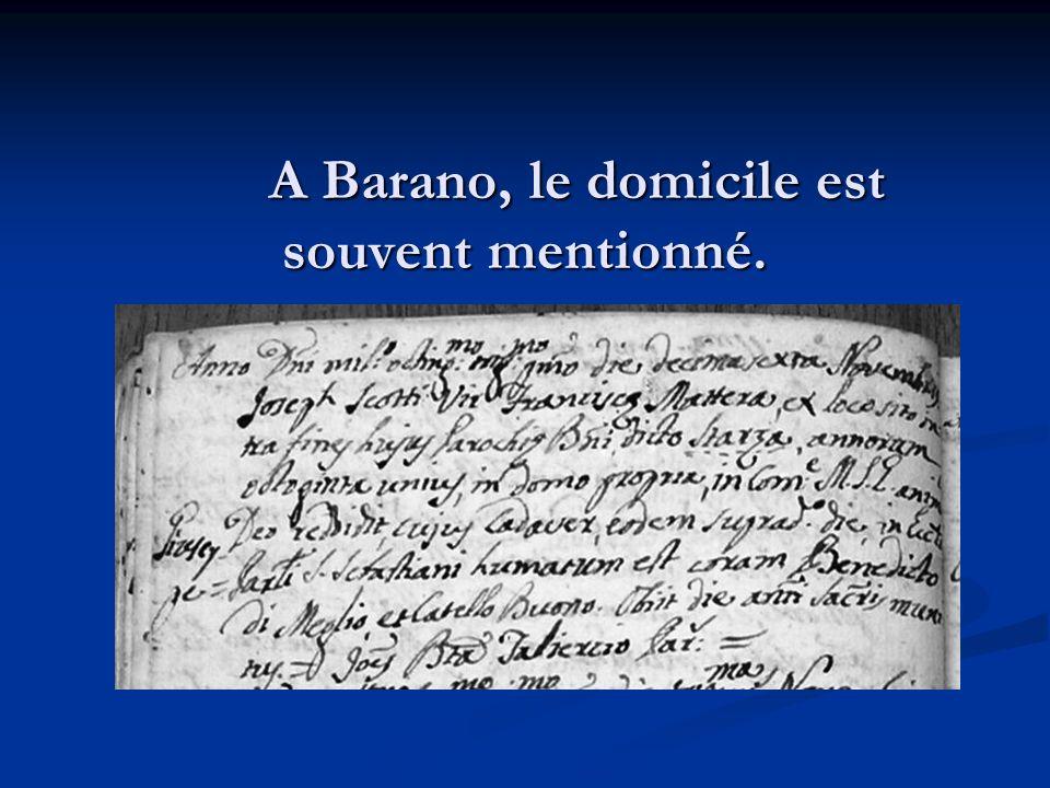 A Barano, le domicile est souvent mentionné.