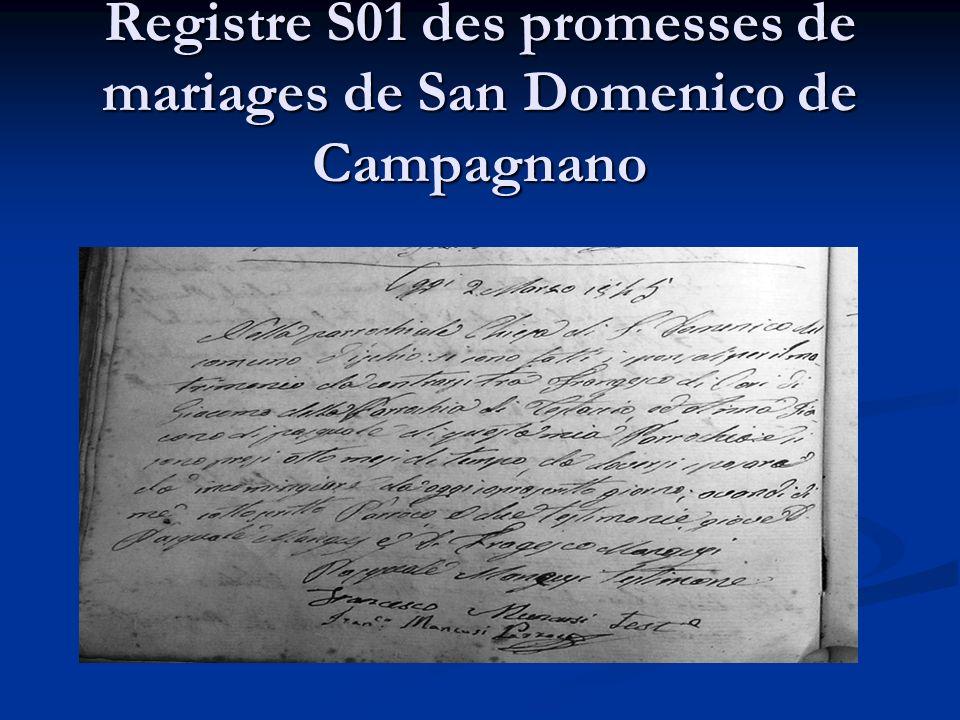 Registre S01 des promesses de mariages de San Domenico de Campagnano