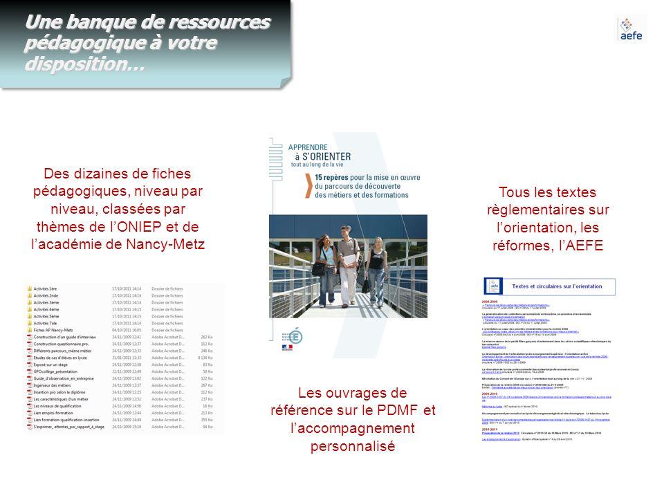 Une banque de ressources pédagogique à votre disposition… Des dizaines de fiches pédagogiques, niveau par niveau, classées par thèmes de lONIEP et de