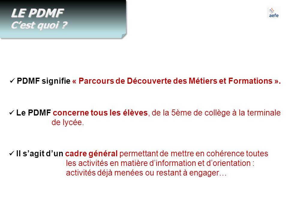 LE PDMF Cest quoi ? PDMF signifie « Parcours de Découverte des Métiers et Formations ». Le PDMF concerne tous les élèves, de la 5ème de collège à la t