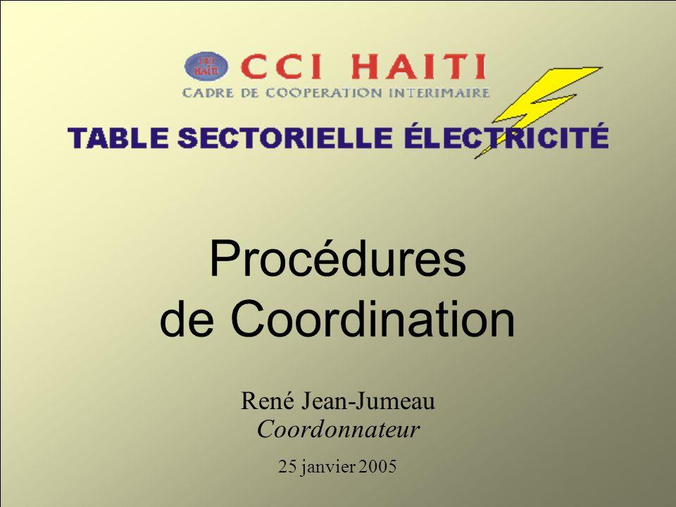 Procédures de Coordination René Jean-Jumeau Coordonnateur 25 janvier 2005