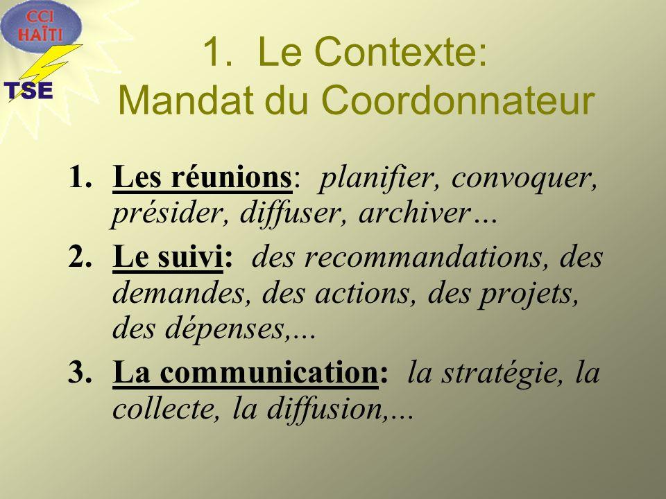 1. Le Contexte: Mandat du Coordonnateur 1.Les réunions: planifier, convoquer, présider, diffuser, archiver… 2.Le suivi: des recommandations, des deman
