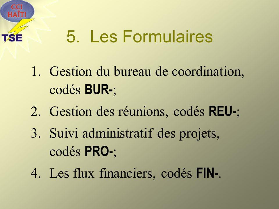 5. Les Formulaires 1.Gestion du bureau de coordination, codés BUR- ; 2.Gestion des réunions, codés REU- ; 3.Suivi administratif des projets, codés PRO