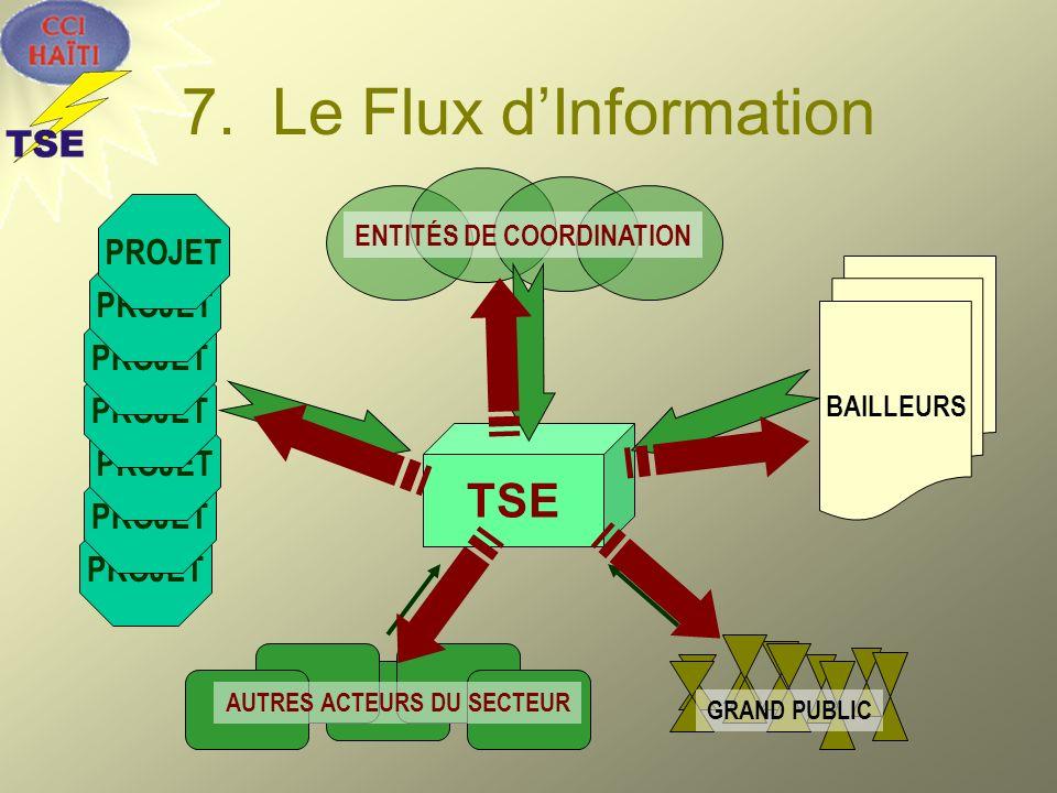 7. Le Flux dInformation TSE BAILLEURS PROJET ENTITÉS DE COORDINATION GRAND PUBLIC AUTRES ACTEURS DU SECTEUR