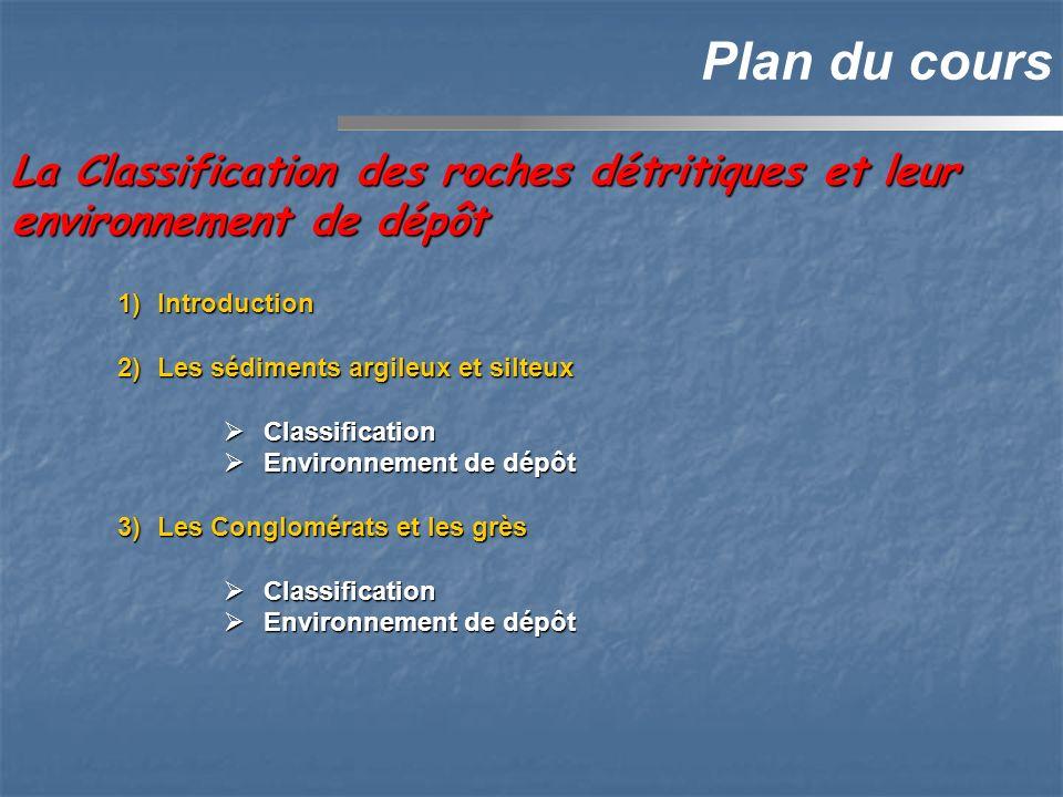 1)Introduction 2)Les sédiments argileux et silteux Classification Classification Environnement de dépôt Environnement de dépôt 3)Les Conglomérats et les grès Classification Classification Environnement de dépôt Environnement de dépôt La Classification des roches détritiques et leur environnement de dépôt Plan du cours