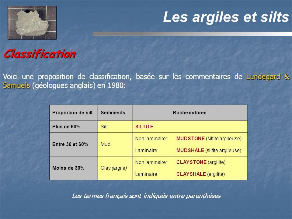 Classification Les argiles et silts Lundegard & Samuels Voici une proposition de classification, basée sur les commentaires de Lundegard & Samuels (géologues anglais) en 1980: Proportion de siltSédimentsRoche indurée Plus de 60%SiltSILTITE Entre 30 et 60%Mud Non laminaire:MUDSTONE (siltite argileuse) Laminaire:MUDSHALE (siltite argileuse) Moins de 30%Clay (argile) Non laminaire:CLAYSTONE (argilite) Laminaire:CLAYSHALE (argilite) Les termes français sont indiqués entre parenthèses