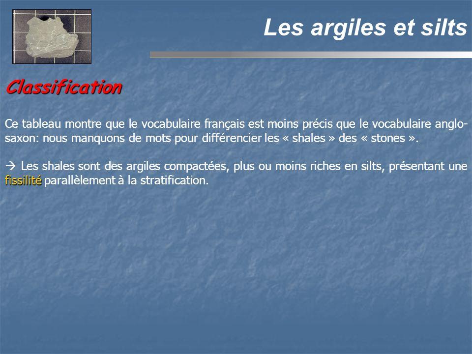 Classification Les argiles et silts Ce tableau montre que le vocabulaire français est moins précis que le vocabulaire anglo- saxon: nous manquons de mots pour différencier les « shales » des « stones ».