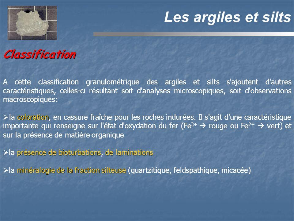 Classification Les argiles et silts A cette classification granulométrique des argiles et silts s'ajoutent d'autres caractéristiques, celles-ci résult