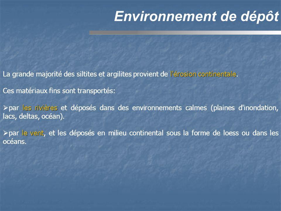 Environnement de dépôt l'érosion continentale La grande majorité des siltites et argilites provient de l'érosion continentale. Ces matériaux fins sont