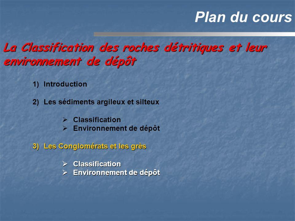 1)Introduction 2)Les sédiments argileux et silteux Classification Environnement de dépôt 3)Les Conglomérats et les grès Classification Classification Environnement de dépôt Environnement de dépôt La Classification des roches détritiques et leur environnement de dépôt Plan du cours