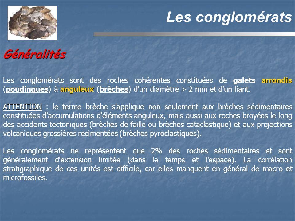 Généralités Les conglomérats arrondis anguleux Les conglomérats sont des roches cohérentes constituées de galets arrondis (poudingues) à anguleux (brèches) d un diamètre > 2 mm et d un liant.