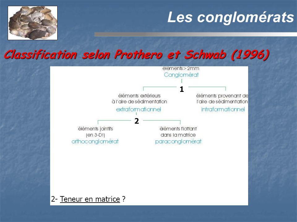 Les conglomérats 2 2- Teneur en matrice ? 1 Classification selon Prothero et Schwab (1996)