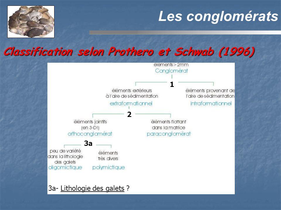 Les conglomérats 3a 2 3a- Lithologie des galets ? 1 Classification selon Prothero et Schwab (1996)