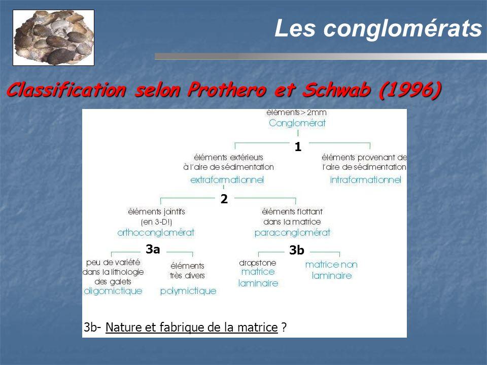 Les conglomérats 3a 2 3b 3b- Nature et fabrique de la matrice ? 1 Classification selon Prothero et Schwab (1996)