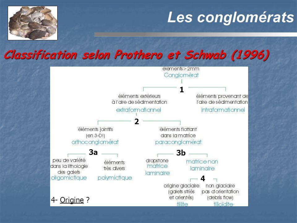 Les conglomérats 3a 2 3b 4- Origine ? 4 1 Classification selon Prothero et Schwab (1996)