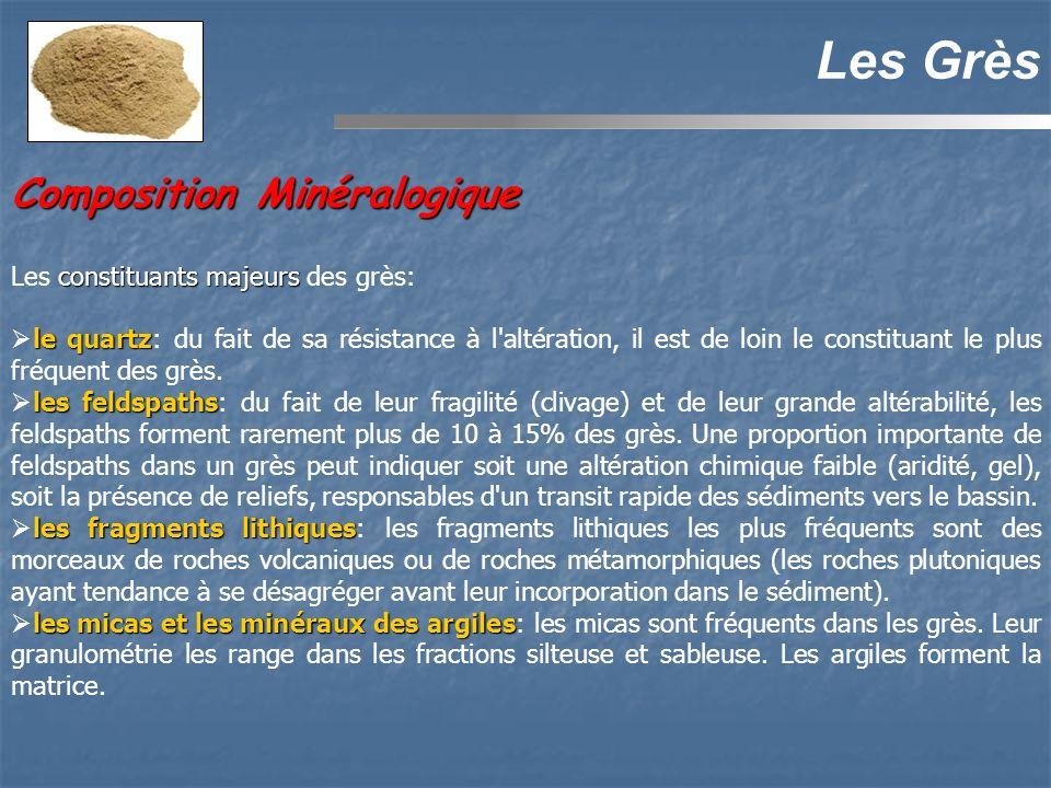 Composition Minéralogique Les Grès constituants majeurs Les constituants majeurs des grès: le quartz le quartz: du fait de sa résistance à l altération, il est de loin le constituant le plus fréquent des grès.