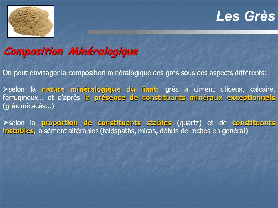 Composition Minéralogique Les Grès On peut envisager la composition minéralogique des grès sous des aspects différents: nature minéralogique du liant