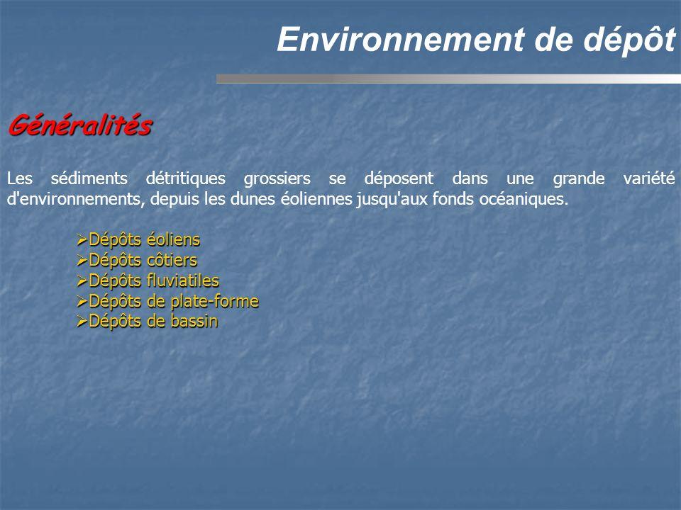 Environnement de dépôt Les sédiments détritiques grossiers se déposent dans une grande variété d'environnements, depuis les dunes éoliennes jusqu'aux