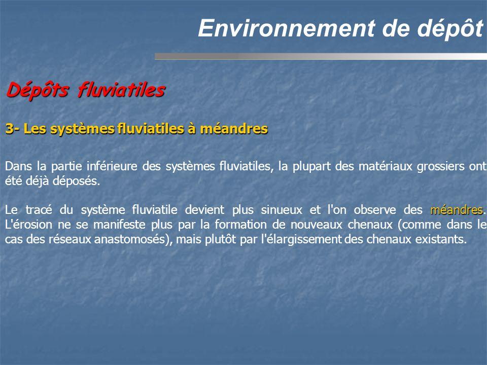 Dépôts fluviatiles Environnement de dépôt Dans la partie inférieure des systèmes fluviatiles, la plupart des matériaux grossiers ont été déjà déposés.