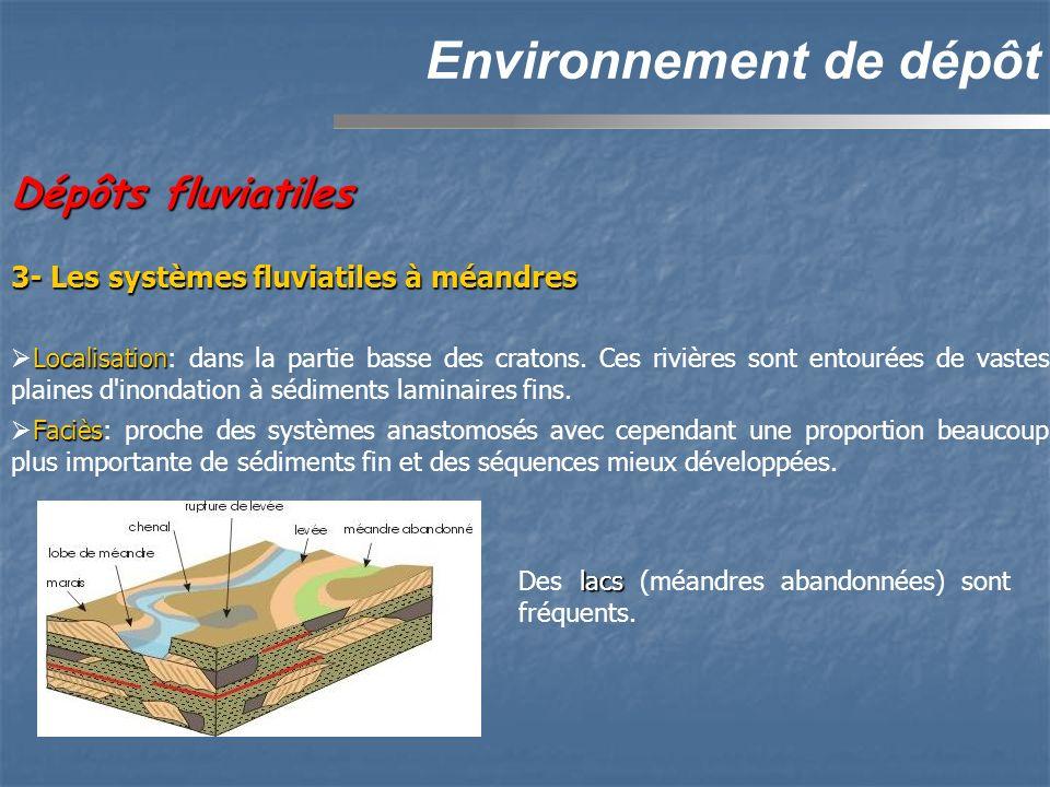 Dépôts fluviatiles Environnement de dépôt Localisation Localisation: dans la partie basse des cratons. Ces rivières sont entourées de vastes plaines d