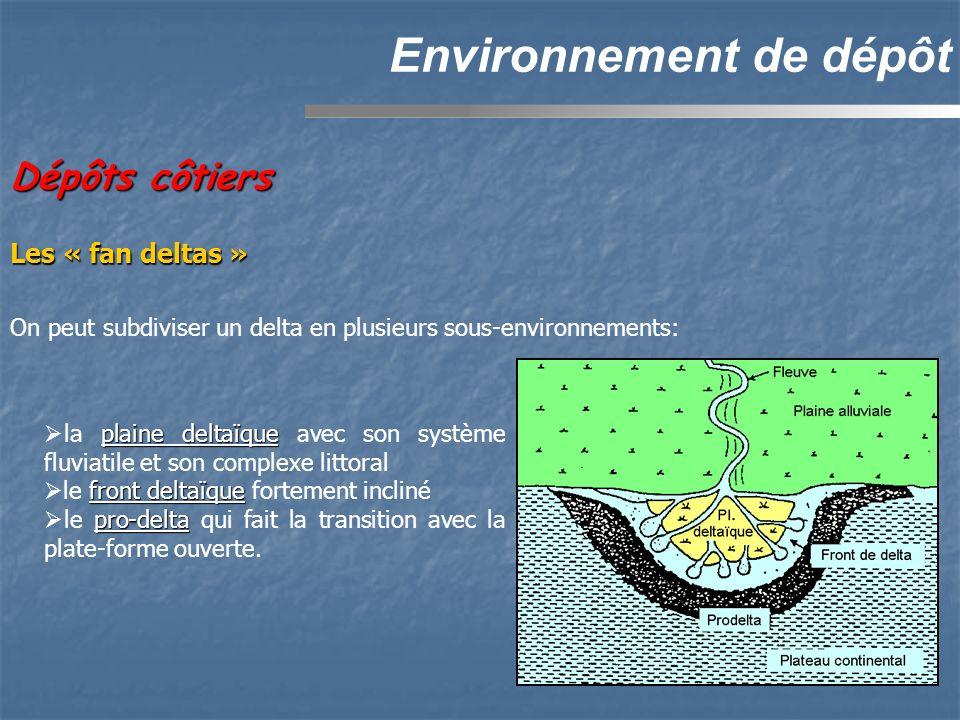 Dépôts côtiers Environnement de dépôt On peut subdiviser un delta en plusieurs sous-environnements: plaine deltaïque la plaine deltaïque avec son système fluviatile et son complexe littoral front deltaïque le front deltaïque fortement incliné pro-delta le pro-delta qui fait la transition avec la plate-forme ouverte.