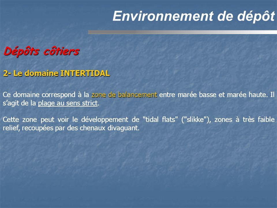 Dépôts côtiers Environnement de dépôt 2- Le domaine INTERTIDAL zone de balancement Ce domaine correspond à la zone de balancement entre marée basse et