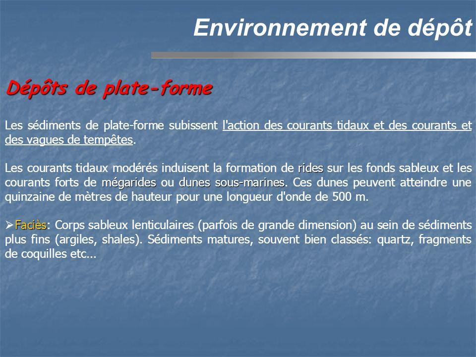 Dépôts de plate-forme Environnement de dépôt Les sédiments de plate-forme subissent l action des courants tidaux et des courants et des vagues de tempêtes.