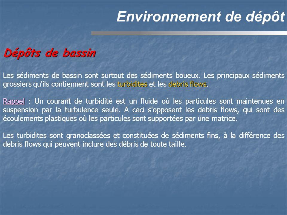 Dépôts de bassin Environnement de dépôt turbiditesdebris flows Les sédiments de bassin sont surtout des sédiments boueux. Les principaux sédiments gro
