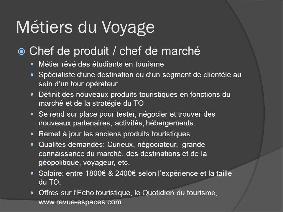 Métiers du Voyage Chef de produit / chef de marché Métier rêvé des étudiants en tourisme Spécialiste dune destination ou dun segment de clientèle au s