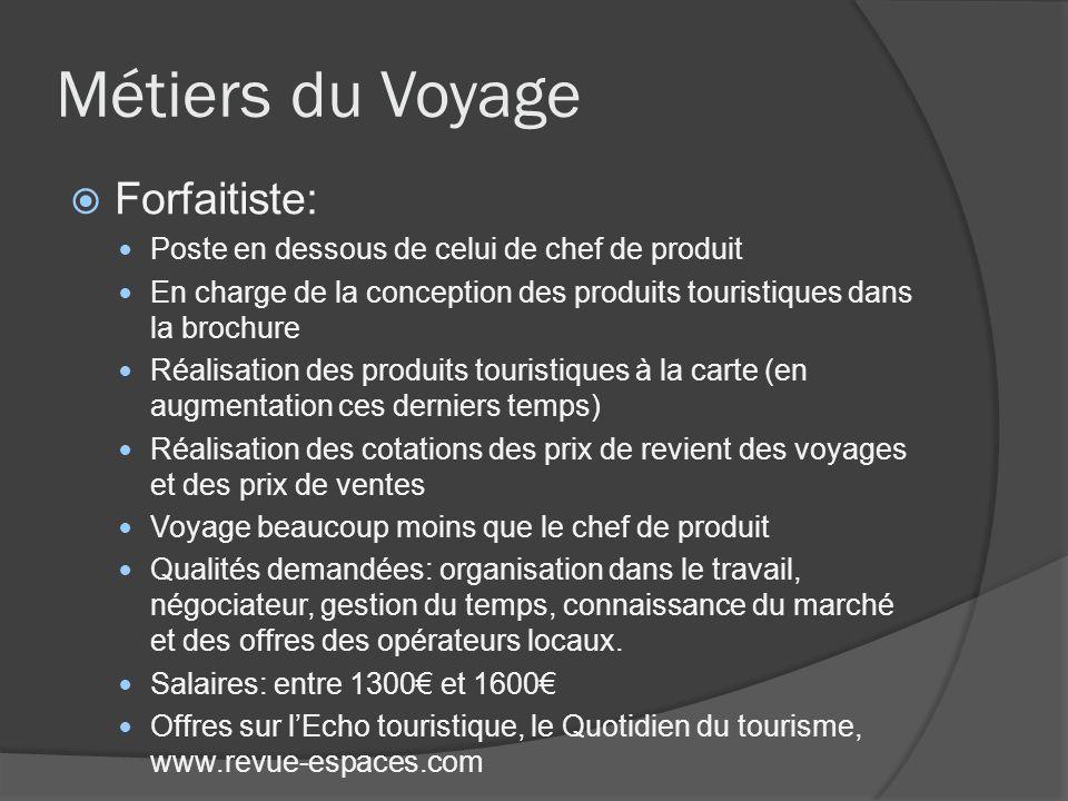 Métiers du Voyage Forfaitiste: Poste en dessous de celui de chef de produit En charge de la conception des produits touristiques dans la brochure Réal