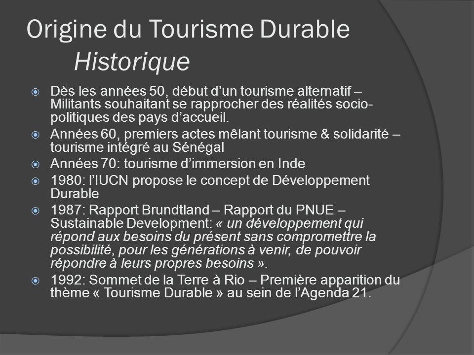 Origine du Tourisme Durable Historique Dès les années 50, début dun tourisme alternatif – Militants souhaitant se rapprocher des réalités socio- polit