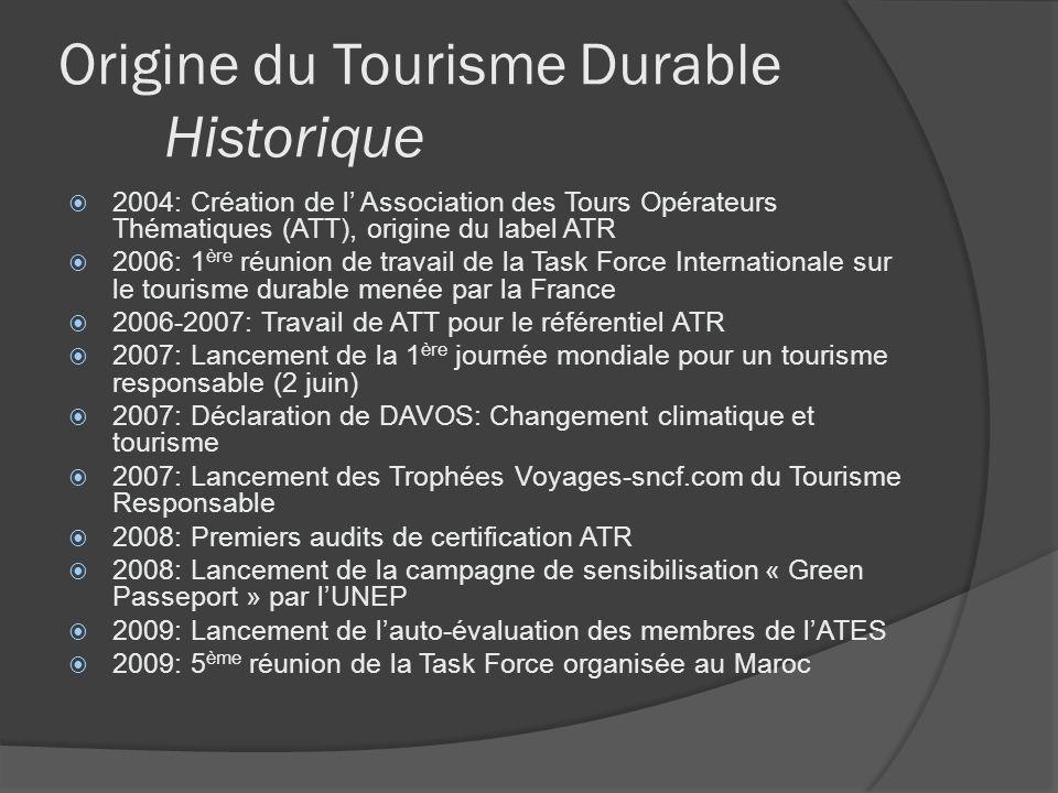 Origine du Tourisme Durable Historique 2004: Création de l Association des Tours Opérateurs Thématiques (ATT), origine du label ATR 2006: 1 ère réunio