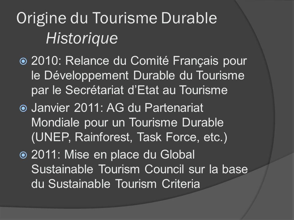 Origine du Tourisme Durable Historique 2010: Relance du Comité Français pour le Développement Durable du Tourisme par le Secrétariat dEtat au Tourisme